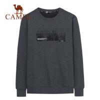 camel骆驼男装秋冬新款韩版长袖宽松时尚圆领套头加绒加厚卫衣男潮