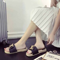 凉拖 女士X元素蝴蝶结一字型拖鞋2020年夏季新款韩版时尚女式户外休闲女鞋沙滩鞋