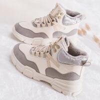 加绒女鞋冬季女2018新款厚底马丁靴韩版学生棉鞋百搭高帮雪地靴子