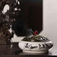 陶瓷大号茶道配件用具陶瓷香炉家用创意香道复古香薰炉塔香炉盘香香炉摆件蚊香盘
