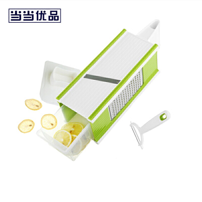 当当优品 多功能四面刨丝刨片器 绿色当当自营 可切细丝、扁丝、中丝、切片和削皮 赠削皮器
