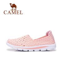 camel骆驼户外休闲透气女鞋 七彩拼色轻便平底鞋单鞋