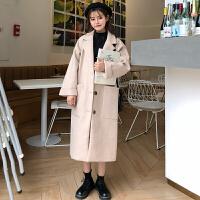 2018新款冬装韩版复古宽松中长款毛呢外套流行过膝风衣呢子大衣女 均码