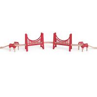 Hape超级双吊桥3-6岁儿童早教火车轨道配件玩具婴幼玩具木制玩具E3710
