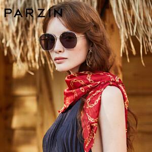 帕森2019新品太阳镜女士金属复古大框尼龙驾驶镜 修脸潮墨镜91615