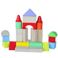 31粒多彩积木 木制大块宝宝积木质儿童玩具 31粒多彩积木