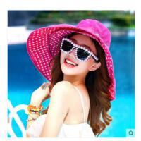 女遮阳帽 大沿沙滩帽太阳帽 子春夏天户外防 晒防紫外线双面折叠 凉帽