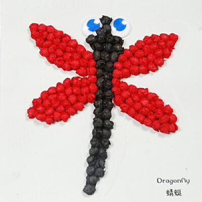 手揉纸搓纸画儿童手工制作材料包diy创意粘贴画益智玩具_蜻蜓