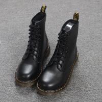 马丁靴女英伦风新款靴子潮靴系带短靴秋冬平底靴骑士靴圆头高帮靴