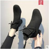 方头粗跟短靴女冬季新款加绒网红瘦瘦靴冬短筒马丁靴中跟裸靴