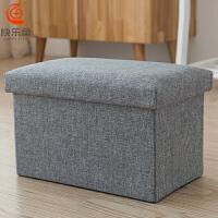 家用储物凳可坐收纳凳布艺多功能折叠椅玩具整理箱长换鞋沙发凳子 78L-长方(60*36*36cm) 棉麻材质