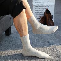 时尚男袜秋冬商务中厚中筒吸湿排汗纯色棉袜 男士中帮黑色男人袜
