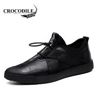 鳄鱼恤休闲鞋百搭男靴头层牛皮户外鞋子舒适男鞋