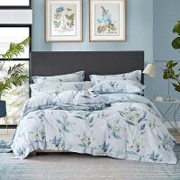 君别床上四件套简约贡缎平纹床单被套60支长绒棉1.8m高端大气