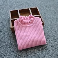 1-4岁秋新款女宝宝纯色坑条木耳边百搭毛衣白色女童韩版打底衫