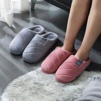 新款休闲家居室内保暖情侣拖鞋 软底防滑布艺加绒棉拖鞋