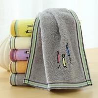 儿童全棉毛巾家用纯棉洗脸的小孩童巾柔软吸水不掉毛长方形小帕子 一家人童巾 2条装 随机色 50x25cm