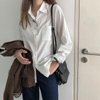 纯色口袋长袖衬衣秋装女2018新款韩版百搭宽松显瘦polo领衬衫学生 白色 均码