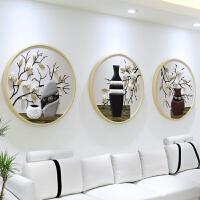 沙发背景墙装饰画客厅圆形三联画餐厅挂画玄关卧室装饰品浮雕壁画 直径:70*70厘米 40mm加厚外框+皮革软包
