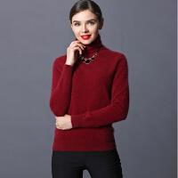 秋冬新款女式短款堆堆领女装貂毛衫高领毛衣套头打底针织衫