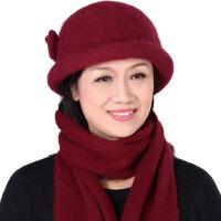 冬季女士毛线针织帽中老年人保暖帽子围巾