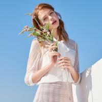 秋水伊人衬衫2020夏装新款女装纯色蕾丝拼接系带小众雪纺衫上衣女