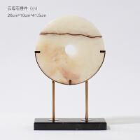中式软装饰品平安扣摆件中国明清古典风格天然真玉石圆形玉器摆设