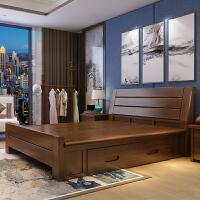 现代简约全实木床1.8米高箱储物橡木抽屉双人床1.5米新中式主卧床 +2柜