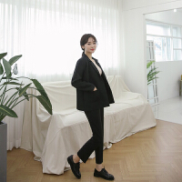 小西装外套女韩版2018新款时尚职业套装秋冬黑色显瘦大码西服正装 黑色 X