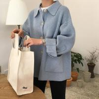 春季新款韩版chic风复古学院风翻领单排扣宽松长袖针织毛衣外套女 均码