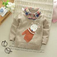儿童毛衣男童假两件针织衫春装2018新款宝宝羊绒衫小童打底线衣潮 卡其色 小手套毛衣