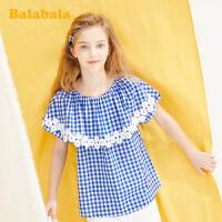 巴拉巴拉童装女童短袖衬衫中大童夏装衬衣甜美格纹上衣时尚百搭潮