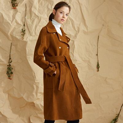 【3折到手价:540元】爱客双面羊绒大衣女中长款新款韩版收腰流行宽松羊毛呢子大衣