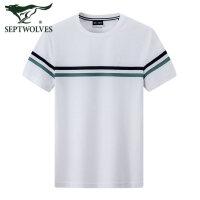 七匹狼T恤男条纹圆领短袖2020夏季新款休闲男士体恤上衣纯棉男装