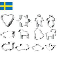 【当当海外购】瑞典进口Orthex 不锈钢烘焙饼干曲奇模具水果切模巧克力模具12件套装 儿童节专享主题(4cm)