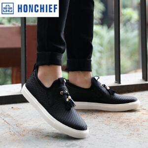 HONCHIEF 红蜻蜓旗下2017春季新款时尚编制拼色板鞋舒适休闲男鞋