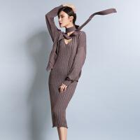 2018春季新款女士纯山羊绒衫针织套裙两件套时尚毛衣连衣裙套装