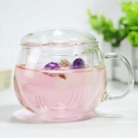 耐�岵AЦ吲蠊璨馁|�^�V水�� ��意玻璃花茶杯茶具400ML保�夭A�水杯晾�霭组_水杯