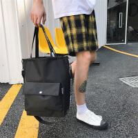 韩国双面背休闲运动斜挎包男单肩包帆布背包学生手提包潮 黑色