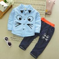 百槿 2018春季男童女童春装套装0-1-2-3-4岁儿童猫咪衬衫+条纹裤两件套身高80-120