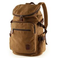 帆布包男包休闲双肩包中学生背包户外男士旅行包电脑包 14寸