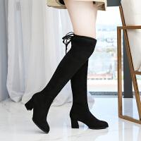 过膝靴女2018新款马靴女长筒靴大筒围女靴胖mm粗腿肥脚大码靴子女 大气黑 6厘米跟加肥版
