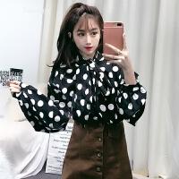 2018春装新款气质韩版V领系带波点泡泡袖学生宽松长袖衬衫上衣女 黑色 均码
