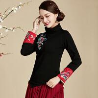 高领打底衫女秋冬季上衣复古云南民族风长袖T恤中国风刺绣女装