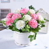 绿色花瓶康乃馨陶瓷花瓶餐桌摆件装饰品创意客厅电视柜插花小摆件 玫红色 绣球花+花盆