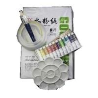 支持货到付款 水粉5件套装-马利牌水粉颜料12色+画笔+水粉纸+调色盘+洗笔桶