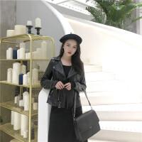 圆环pu皮衣女短款小外套修身冬季机车夹克气质时尚韩版bf风百搭潮