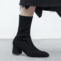 袜靴女中跟2018秋新款弹力短靴瘦瘦靴女短筒矮靴粗跟秋冬马丁靴女