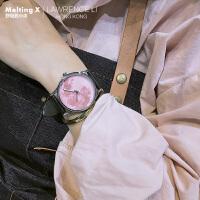 浅樱色月球纹路星空手表樱花概念ins个性手表