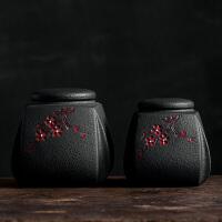 茶叶罐陶瓷礼盒陶瓷茶叶罐家用创意复古方形茶仓小号粗陶密封罐存储物茶缸陶罐子